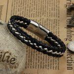 Jewow Bijoux acier inoxydable Noir Cuir Bracelet pour les Homme de la marque Jewow image 1 produit
