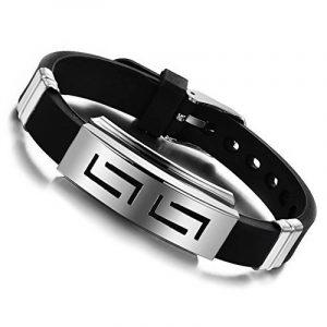 Jewow Bijoux acier inoxydable Silicone Bracelet pour les Homme Réglable (16-21cm) de la marque Jewow image 0 produit