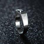 JiangXin Bague Homme en Argent Sterling 925 Plaqué Platine en Diamant Noir Simulé Ouverte Ajustable de la marque JIANGXIN image 4 produit