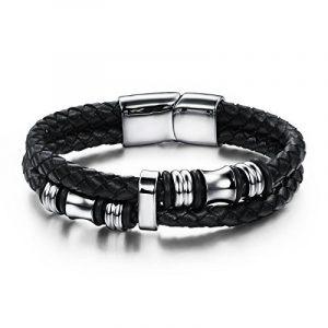 Jstyle Acier Inoxydable Bracelet Homme-Bracelet en Cuir-Chaîne de Main-Couleur Noir de la marque Jstyle image 0 produit