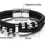 Jstyle Acier Inoxydable Bracelet Homme-Bracelet en Cuir-Chaîne de Main-Couleur Noir de la marque Jstyle image 1 produit