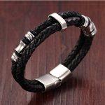 Jstyle Acier Inoxydable Bracelet Homme-Bracelet en Cuir-Chaîne de Main-Couleur Noir de la marque Jstyle image 2 produit