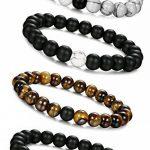 Jstyle Bijoux 4 Pcs(2 paires) Bracelet Couples Perles d'Énergie Onyx Noir Mat Pierre oeil de tigre Unisexe bracelets pour Les Hommes et les Femmes de la marque Jstyle image 2 produit