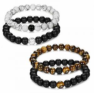 Jstyle Bijoux 4 Pcs(2 paires) Bracelet Couples Perles d'Énergie Onyx Noir Mat Pierre oeil de tigre Unisexe bracelets pour Les Hommes et les Femmes de la marque Jstyle image 0 produit