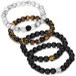 Jstyle Bijoux 4 Pcs(2 paires) Bracelet Couples Perles d'Énergie Onyx Noir Mat Pierre oeil de tigre Unisexe bracelets pour Les Hommes et les Femmes de la marque Jstyle image 3 produit