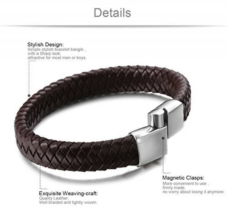 Bracelet en cuir marron homme