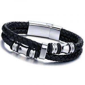 Jstyle Bijoux Bracelet en Cuir Tressé Hommes Noir Fermoir Magnétique 20CM / 22CM de la marque Jstyle image 0 produit