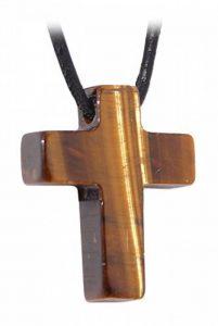 Kaltner Präsente Idée de Cadeau–CHAÎNE en cuir pour homme et femme avec pendentif croix de la pierre précieuse de la marque Kaltner Präsente image 0 produit