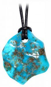Kaltner Präsente - Idée de Cadeau–Collier pour homme et femme avec cordon en cuir et pendentif de forme libre en turquoise naturelle précieuse de la marque Kaltner Präsente image 0 produit