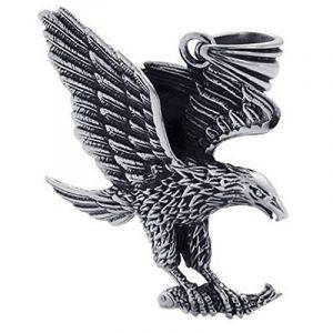 KONOV Bijoux Pendentif Collier Homme - Chaîne - Aigle Marine Tribal - Acier Inoxydable - Fantaisie - Homme - Couleur Noir Argent - Avec Sac Cadeau de la marque Konov image 0 produit