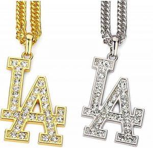 La Lettre Pendentif en cristal Collier pour homme Rock Hip Hop Bijoux Doré Chaîne de couleur argent de long Big Colliers Silver de la marque Harvies Fashions image 0 produit