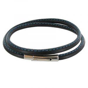 Les Poulettes Bijoux - Bracelet Homme Cuir Noir Fin Cousu Bleu Fermoir Acier Inoxydable de la marque Les Poulettes Bijoux image 0 produit