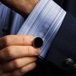 LIEBLICH 2PCS Boutons De Manchette Homme 6PCS Goujons Rond Noirs Classique Plaque Rhodium Argent Mariage Business Cadeau pour garçons d'honneur de la marque LIEBLICH image 4 produit