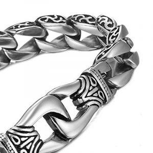 Mendino Bracelet en acier inoxydable Motif menottes avec pochette cadeau de la marque MENDINO image 0 produit