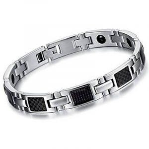 Mens Titanium Bracelet magnétique avec fibre de carbone Noir marqueterie de la marque Peyviva image 0 produit