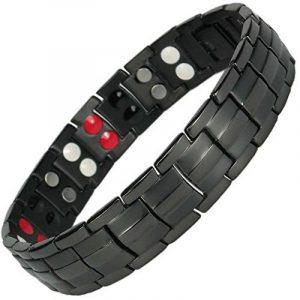 MPS® 4 bioéléments Titane bracelet magnétique avec boucle déployante et des aimants puissants, 3000 gauss chacun. Avec outil gratuit pour enlever liens. de la marque MPS image 0 produit
