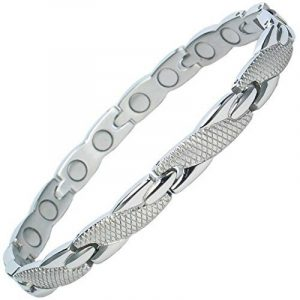 MPS® Bracelet en acier inoxydable magnétique avec puissantes 3000 gauss terres rares aimants néodyme. Avec outil gratuit pour enlever liens. de la marque MPS image 0 produit