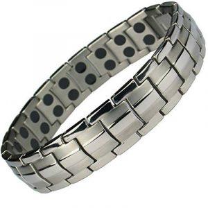MPS® - Bracelet magnétique en titane avec boucle déployante et deux aimants puissants par lien, 3000 gauss chacun. Avec outil gratuit pour enlever liens. de la marque MPS image 0 produit