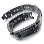 MunkiMix 3000g Magnétique Boule Perle Acier Inoxydable Carbone Fibre Caoutchouc Bracelet Bracelet Lien Ton d'Argent Noir Homme de la marque MunkiMix image 1 produit