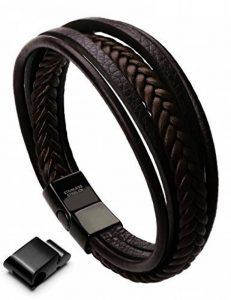 Murtoo Homme Acier inoxydable Bracelet Multi Tissé Noir ou Marron Pour Les Hommes de la marque Murtoo image 0 produit