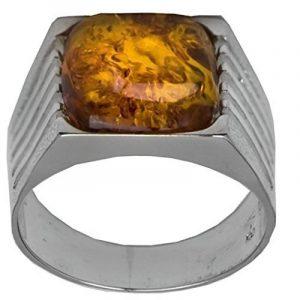 Noda bague carré pour homme en argent 925 et ambre de la marque Noda image 0 produit