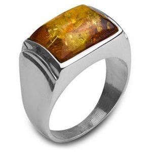 Noda bague rectangulaire pour homme en argent 925 et ambre miel de la marque Noda image 0 produit