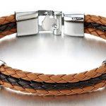 Noir Brun Trois Brin Rangs - Femme Homme Bracelet en Cuir Tressé - Envelopper Bracelet de la marque COOLSTEELANDBEYOND image 1 produit