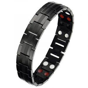 86f1d3b1baf Noir Homme Aimanté Bracelet en Titane - Élément avec Aimants Germanium -  Outil de Suppression de Lien Inclus de la marque COOLSTEELANDBEYOND