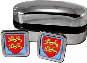 Normandie hommes boutons de manchette-drapeau anglais-chromé-coffret cadeau de la marque Family Crests image 0 produit