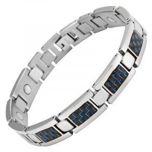 Nouveauté Bracelet Aimanté homme en titane et Incrustations de fibre carbone bleue, Ustensile ajusteur inclus de la marque Willis Judd image 0 produit