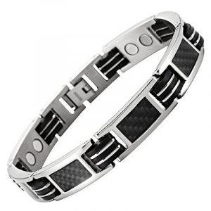 Nouveauté : Bracelet Aimanté homme en titane et Incrustations de fibre carbone noire, Ustensile ajusteur inclus de la marque Willis Judd image 0 produit