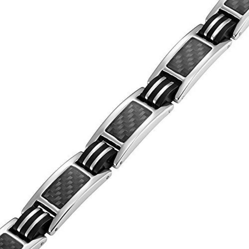 6640dfb2c70 Nouveauté   Bracelet Aimanté homme en titane et Incrustations de fibre  carbone noire
