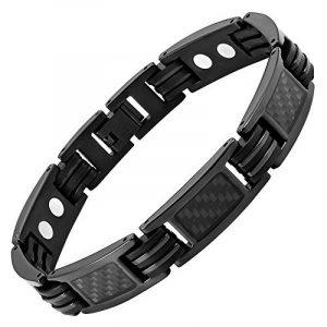 Nouveauté Bracelet Aimanté homme en titane noir et Incrustations de fibre carbone noire, Ustensile ajusteur inclus de la marque image 0 produit