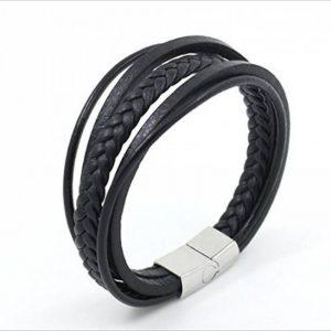 Okaler bracelet en cuir véritable pour hommes, avec boucle aimantée en titane. de la marque Okaler image 0 produit