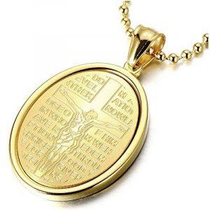 Or Croix Christ Jésus Crucifix - Médaille Miraculeuse Pendentif Collier pour Homme Femmes - Acier - avec 60CM Chaîne de la marque COOLSTEELANDBEYOND image 0 produit