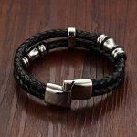 Ostan Bijoux en cuir Corde Hommes Bracelet, tressé Bracelet Manchette Acier Inoxydable Magnetic Boucle - Couleur Noir de la marque Ostan image 1 produit