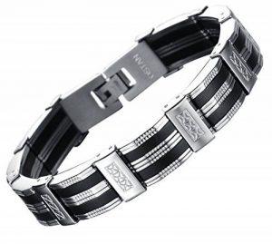 Ostan Bijoux Hommes Gothique 316L Acier Inoxydable Cuff Bracelet Bangle - Nouveaux Fashion Bijoux Hommes Bracelets, Argent et Noir de la marque Ostan image 0 produit