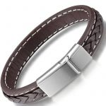Ostan Bijoux Hommes Gothique Cuir 316L Acier inoxydablel Cuff Bracelet Bangle - Marron de la marque Ostan image 2 produit
