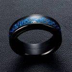 PAURO Homme Acier Inoxydable Noir 8Mm Bague Peut Tourner Dragon Celtique Bleu Fibre De Carbone Anneau de la marque PAURO image 2 produit