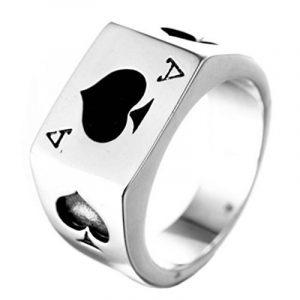 PAURO Hommes Acier Inoxydable As Of Spades Carte de Poker Bague de Chance Argent avec Émail Noir de la marque PAURO image 0 produit