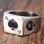 PAURO Hommes Acier Inoxydable As Of Spades Carte de Poker Bague de Chance Argent avec Émail Noir de la marque PAURO image 2 produit