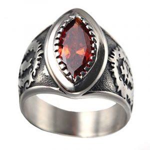 PAURO Hommes Acier Inoxydable Ovale Vintage Promise Chanceux Punk Biker Big rouge noir diamant Wedding Ring de la marque PAURO image 0 produit