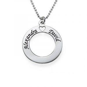 Pendentif Cercle en Argent à Graver avec 2 Prénoms! de la marque Bijoux Personnalisés image 0 produit