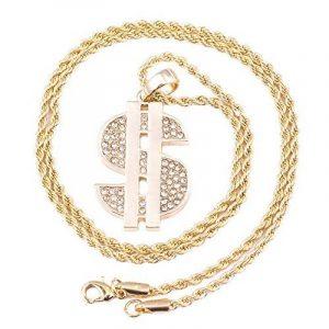 Pendentif homme plaqué or Dollar Micro Iced Out fer Corde Chaîne 3mm 61cm Hip Hop Bling Collier de la marque Look Real Jewellery image 0 produit