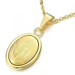 Petit Or Médaille Miraculeuse Pendentif Vierge Marie Maria Collier pour Homme et Femmes - Acier - avec 45CM Chaîne de la marque COOLSTEELANDBEYOND image 0 produit