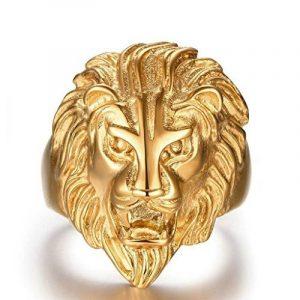Plaqué Or Bague, Bague Pour Hommes Tête de Lion Or Epinki de la marque Epinki image 0 produit