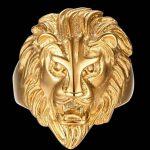 Plaqué Or Bague, Bague Pour Hommes Tête de Lion Or Epinki de la marque Epinki image 1 produit