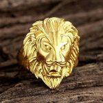 Plaqué Or Bague, Bague Pour Hommes Tête de Lion Or Epinki de la marque Epinki image 3 produit