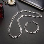 potok Bijoux acier inoxydable Jeu de chaînes de colliers et bracelet Chaînes pour homme femme silberweißen Bracelets 8mm de large et 21,5cm pour bracelet, collier 61cm pour de la marque Potok image 5 produit
