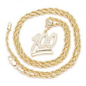 Pour homme NEUF Plaqué or emoji 100Iced Out Pendentif diamant coupe Corde Chaîne Collier de la marque Look Real Jewellery image 0 produit